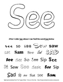 Sight Word Color and Search - See