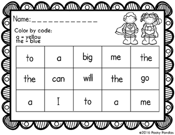 Sight Word - Color by Code