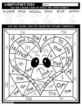 Sight Word Color by Code: Valentine's Day