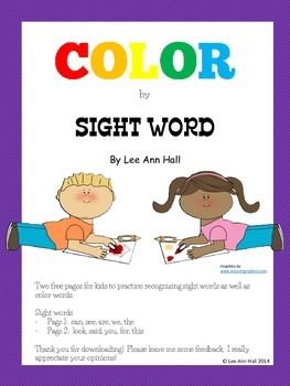 Sight Word Color by Word