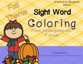 Sight Word Coloring - Fall-Theme