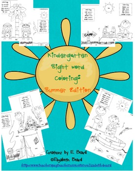Sight Word Coloring Kindergarten Spring and Summer Theme Bundle
