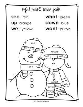 Sight Word Coloring Kindergarten: Winter Themed