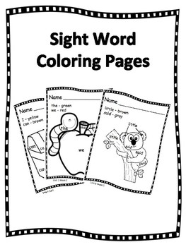 Sight Word Coloring Pages By Ss Penmanship Teachers Pay Teachers