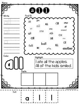 Sight Word Coloring Pages, Practice Pages, and Flashcards {Primer Part 1}