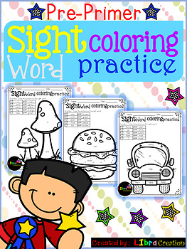 Sight Word Coloring Practice Pre-Primer