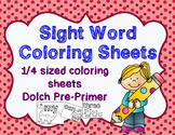Sight Word Coloring Sheets | Dolch Pre-Primer