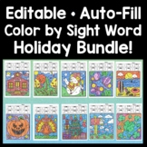 Sight Word Coloring Sheets - 4 Seasons {Editable Auto-Fill!} Color by Sight Word