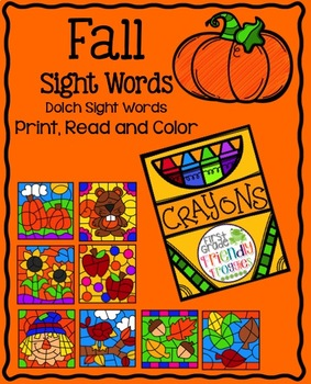 Fall Color By Code Sight Words By First Grade Friendly