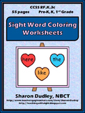 Sight Word Coloring Worksheet Package for Kindergarten