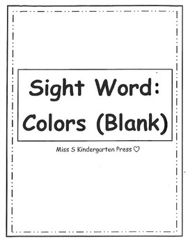 Sight Word: Colors (Blank) Full