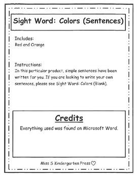 Sight Word: Colors (Sentences) Sample Pack
