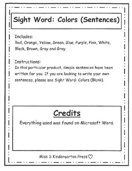 Sight Word: Colors (Sentences) Full