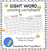 Sight Word Coloring Worksheets - Candy Corn