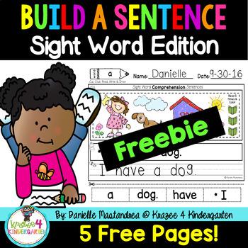 Build a Sentence Sight Word Sentence Scrambles FREEBIE