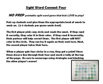 Sight Word Connect Four