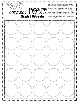 Sight Word Connect Four Game-Fry 1-25- Freebie!