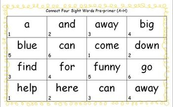 Sight Word Connect Four Game Pack
