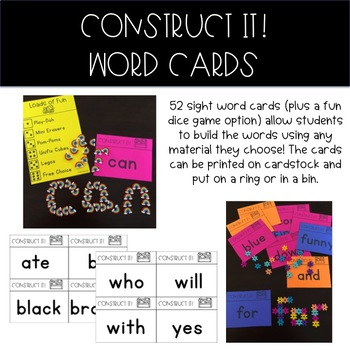 Sight Word Construction (Hands-On, STEM, Low-Prep): Dolch Primer