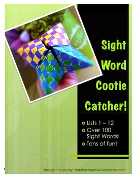 Sight Word Cootie Catcher