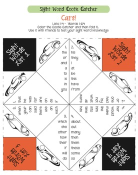 Sight Word Cootie Catcher Set- UPDATED with GREAT Graphics!