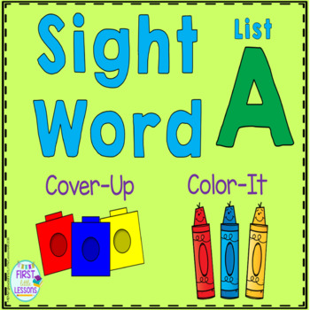Sight Word Cover-Up or Color-It Game List A