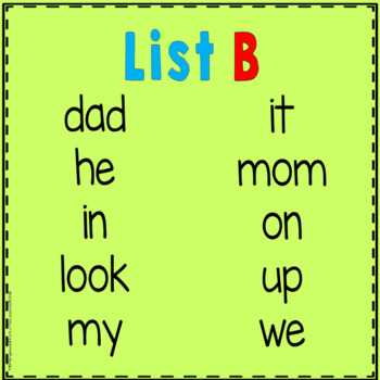 Sight Word Cover-Up or Color-It Game List B