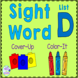 Sight Word Cover-Up or Color-It Game List D