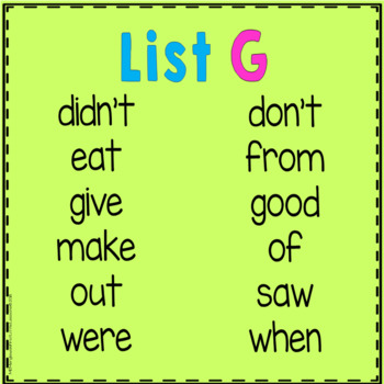 Sight Word Cover-Up or Color-It Game List G
