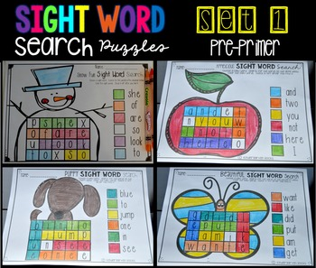 Sight Word Search Puzzles Pre-Primer Set 1