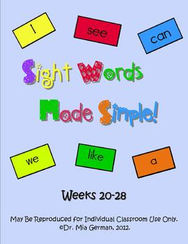 Sight Word Curriculum Weeks 20-28 (Common Core Aligned Set 3)