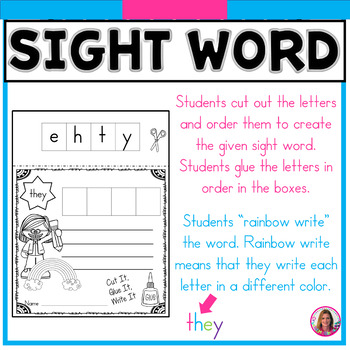 Sight Word Cut It, Glue It, Rainbow Write It! (Dolch Sight Words Kindergarten)