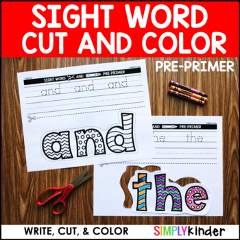 Sight Word Cut and Color - PrePrimer Words