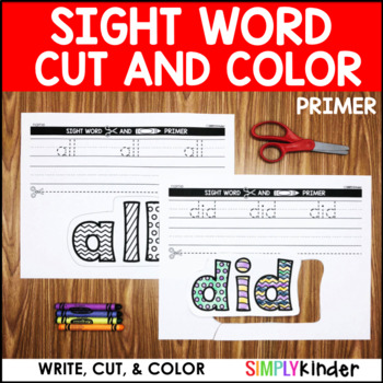 Sight Word Cut and Color - Primer Words