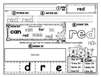 Sight Word Practice - Centers & Activities Sample in Demo
