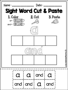 Sight Word Cut and Paste Worksheets (Pre-Primer)