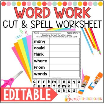 Editable Sight Word Worksheets- Cut and Spell | Worksheets, Pre ...