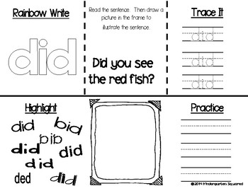 Sight Word: DID - Interactive Flap Book, Reader, and More!