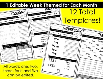 Sight Word Daily Practice: EDITABLE Versions for the Entire Year