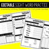 Sight Word Morning Work: EDITABLE Versions for the Entire Year