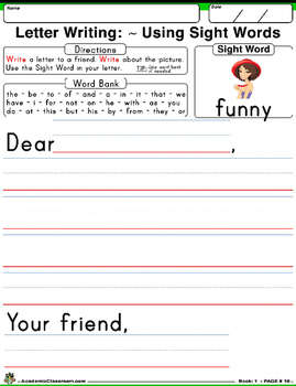 Sight Word Daily Practice: Writing Letters Using Sight Words (Level A)