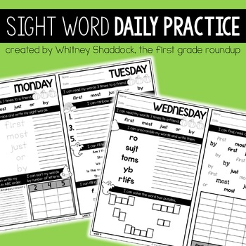 Sight Word Morning Work for the Entire Year of First Grade DISTANCE LEARNING