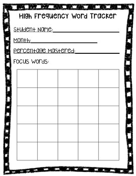 Sight Word Data Tracker