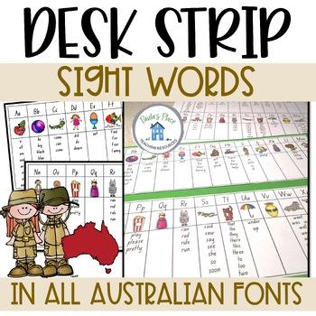 Sight Word Desk Strip (Aus Fonts)