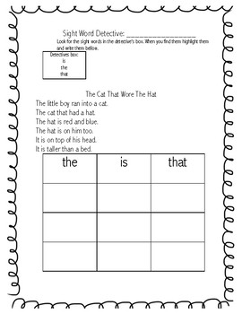 Sight Word Detective #1