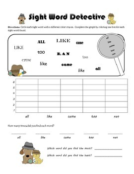 Sight Word Detective Graphing (Dolch Primer List)