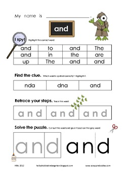 Sight Word Detective: Word Work, find, cut, paste, illustrate