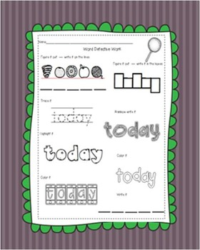 Sight Word Detective Work - 100 Words