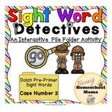 Sight Word Detectives File Folder Activity - Dolch Pre-Primer Sight Word - Go