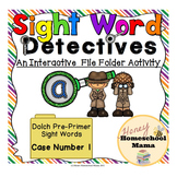 Sight Word Detectives File Folder Activity - Dolch Pre-Primer Sight Word - a